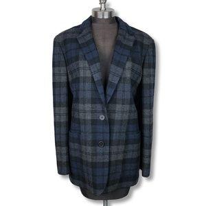 Vintage Ralph Lauren Blue Grey Plaid Blazer Jacket